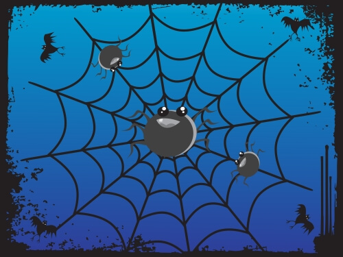 Spider web and Spiders on blue