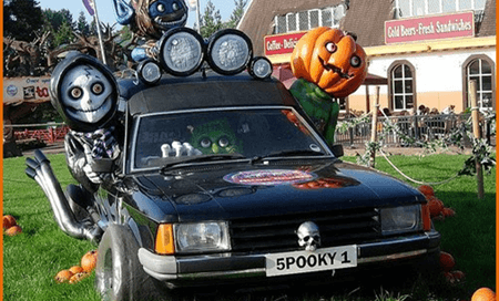 Car decorated for Halloween