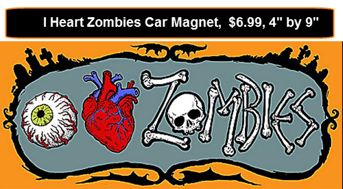 I Heart Zombies Car Magnet