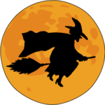 Witch on a broom and the moon